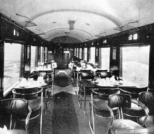 the interior of a London, Midland and Scottish buffet car