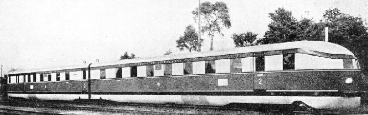 "TWO ARTICULATED COACHES comprise the complete ""Flying Hamburger"""