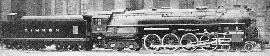 BUILT FOR PUBLICITY, this giant 4-8-4 locomotive was constructed to the order of the Timken Co