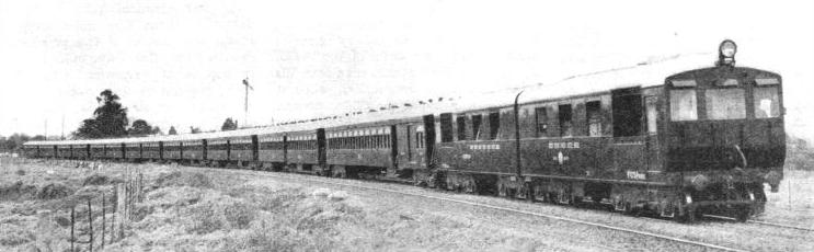 EIGHT-COACH DIESEL ELECTRIC TRAIN on the Buenos Ayres Great Southern Railway
