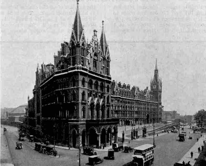An imposing view of the St. Pancras Hotel