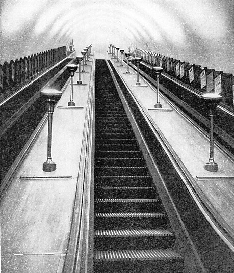the escalator has also been adopted at Waterloo, where it leads from the Underground station to the Southern Railway's terminus