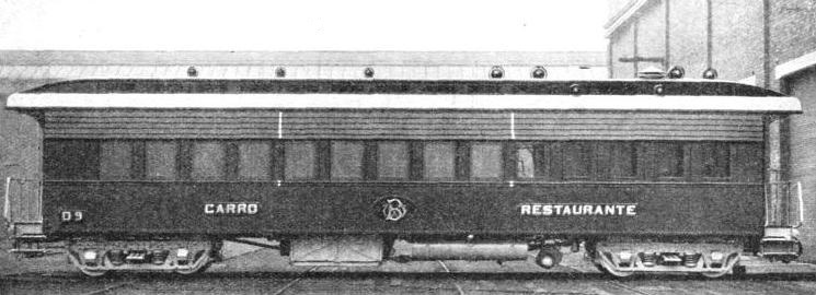A FIRST-CLASS RESTAURANT CAR in service on the Great Western of Brazil Railway