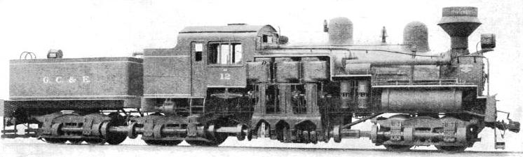 the Shay Geared Locomotive has twelve 4 ft wheels driven through gearing by three vertical cylinders
