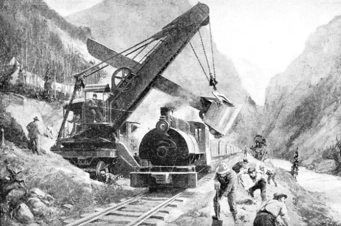 MEN AND MACHINES toiled unceasingly that the railway might bring civilization to the undeveloped interior of Canada