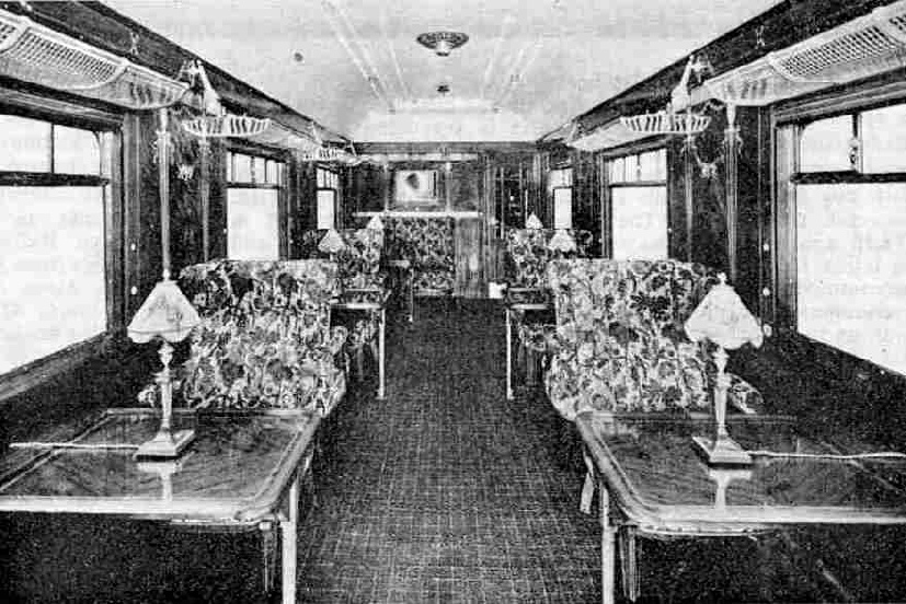 Interior of a modern saloon car on the Edelweiss Pullman