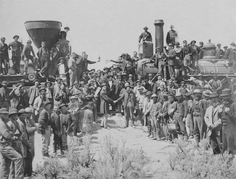 "The celebration following the driving of the ""Last Spike"" at Promontory Summit, May 10, 1869"