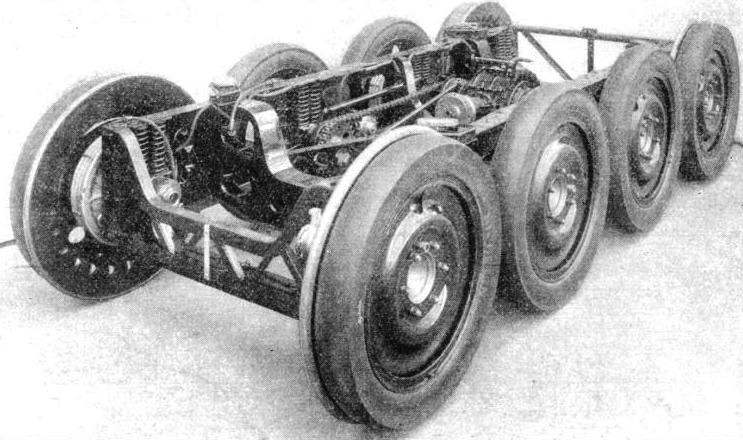 THE EIGHT-WHEELED BOGIE UNIT of the 1934 Micheline 56-seater rail-car.