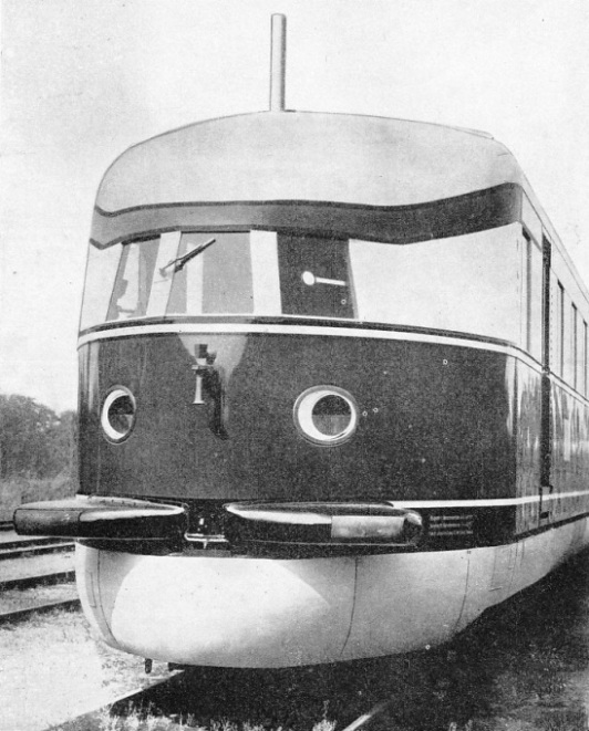 "STREAMLINED FOR SPEED, the ""Flying Hamburger"" presents a remarkable appearance at the front end"