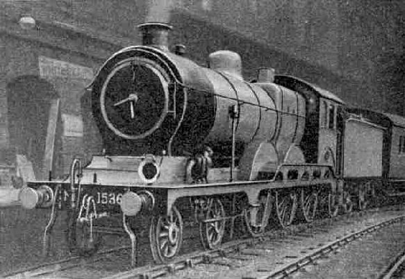 LNER (GE section) 4-6-0 locomotive No. 1536. This type of engine is used to work the North Country Continental