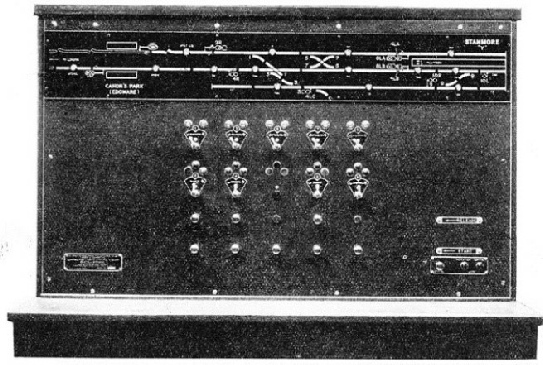 This Control Panel at Wembley Park operates the points and signals at Stanmore and shows by means of little lamps the movements of all trains between that station and Edgware