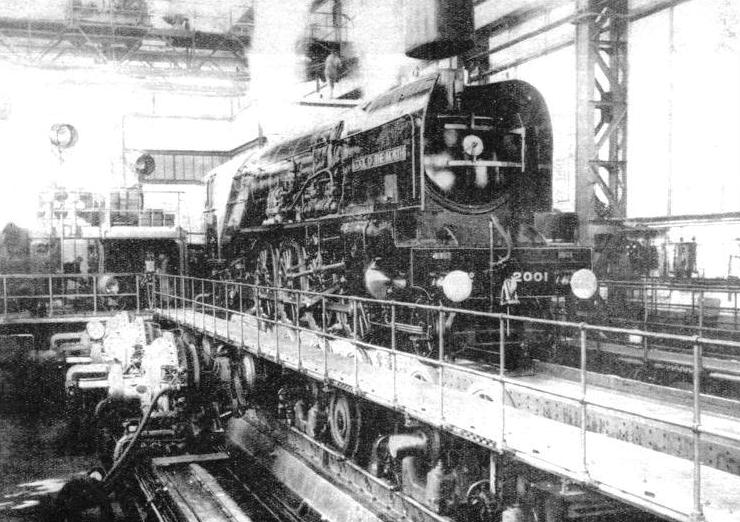 """Cock o' the North"", the great LNER 2-8-2 locomotive, in the testing shop at Vitry, France"