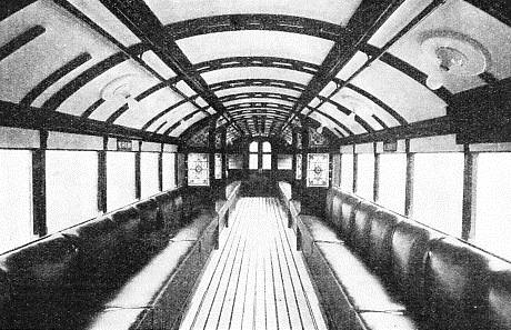 An interior view of one of the converted carriages on the Glasgow District Subway