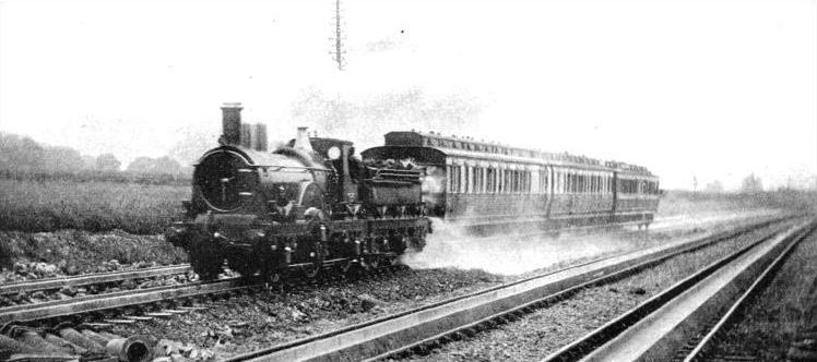 An old-time train at full speed