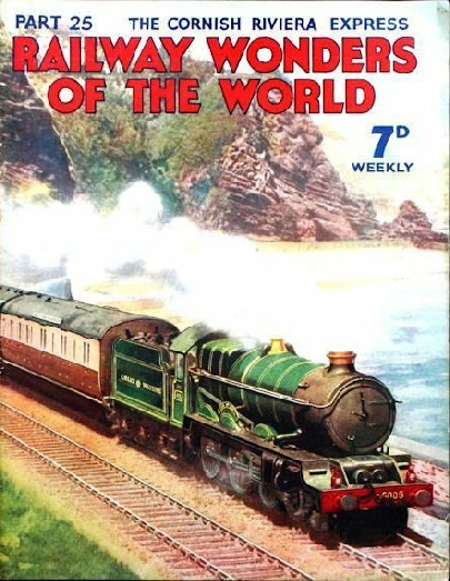"The Cornish Riviera Express drawn by one of the famous ""King"" class locomotives between Dawlish and Teignmouth."
