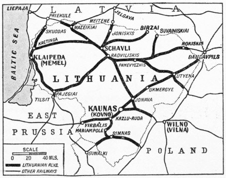 The railway system of Lithuania in 1935