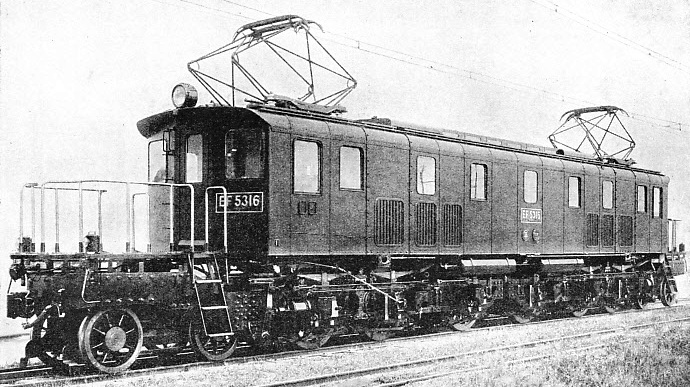 ONE OF THE MANY ELECTRIC LOCOMOTIVES serving on the Japanese lines