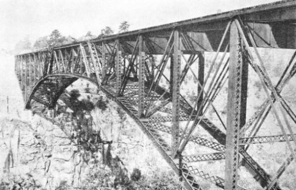 MODERN ALL-STEEL BRIDGE on the Manzanillo-Mexico City line of the National Railways of Mexico