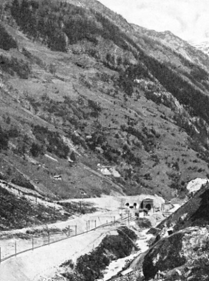 IN THE RUGGED LÖTSCHENTAL the Lötschberg Railway emerges from the great tunnel