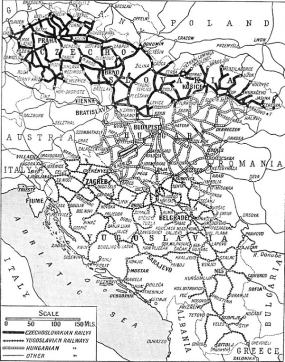 THE MAIN LINES of Czechoslovakia and Yugoslavia