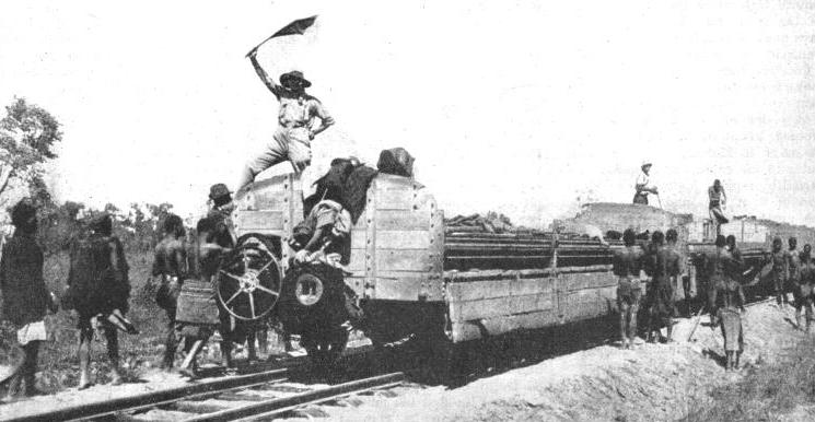 A CONSTRUCTION TRAIN being moved on over a completed section of the Bengueta Railway