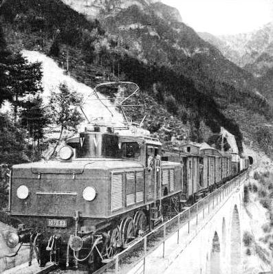 A heavy freight train on the mountainous Mittenwald line
