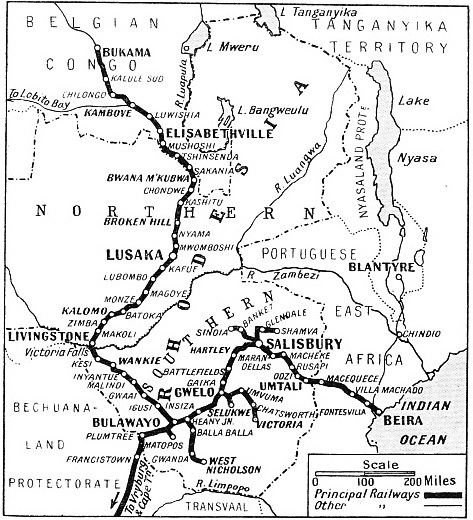 THE RAILWAYS SERVING RHODESIA are shown on this map