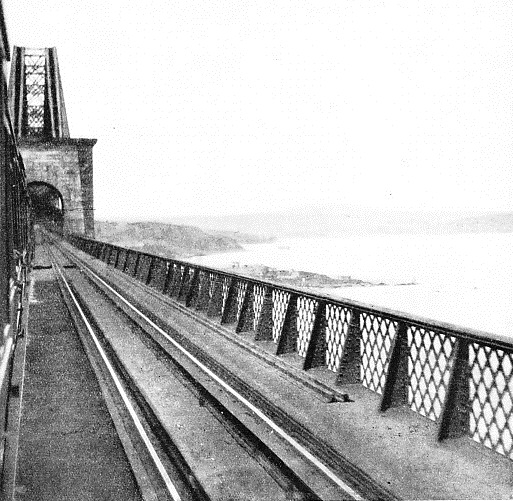 A VIEW FROM THE ABERDEEN EXPRESS as the train crosses the Forth Bridge
