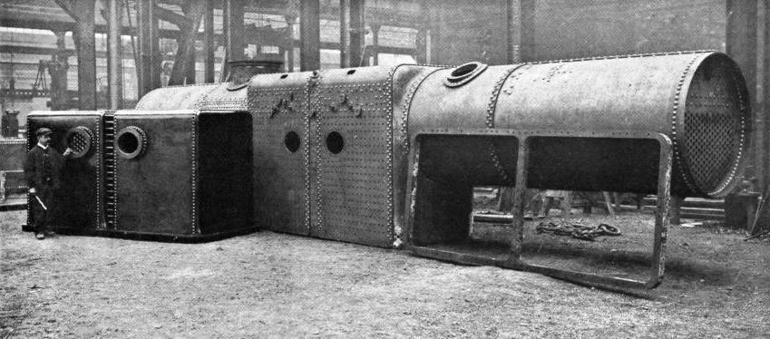 "THE DOUBLE BOILER. FIRE-BOXES, AND FOUNDATION RING OF THE LARGE ""FAIRLIE"" ENGINE BUILT FOR THE MEXICAN RAILWAY"