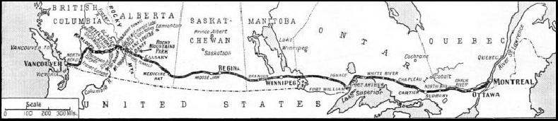"THE ROUTE of the ""Trans-Canada Limited"" from Montreal to Vancouver."