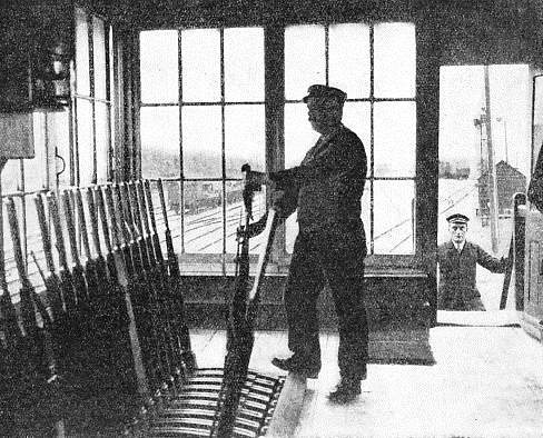 A MANUALLY-OPERATED SIGNAL BOX on the Royal Albert Dock Railway