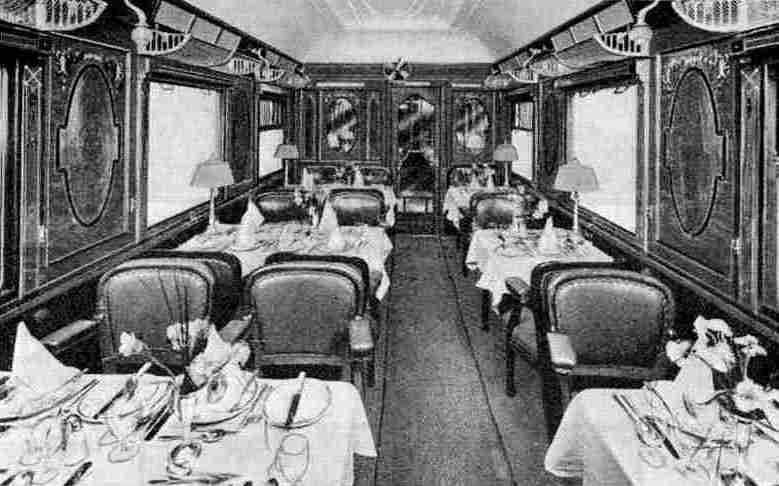 Interior of one of the cars on the Edelweiss Pullman