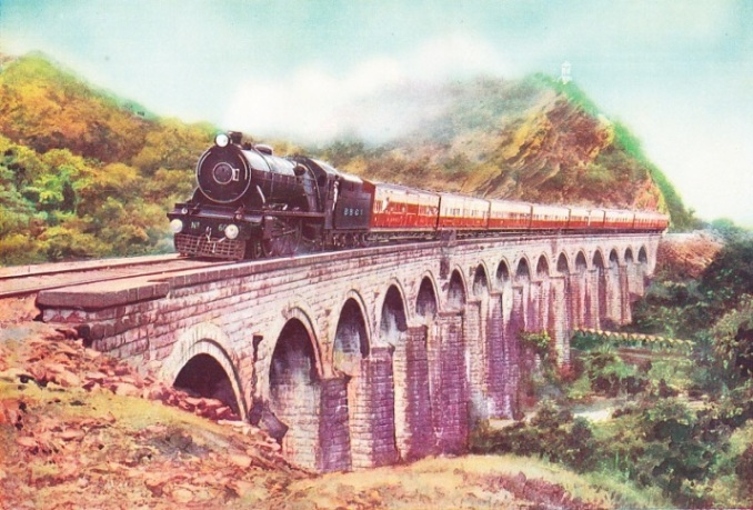 The Frontier Mail passing over a viaduct on the Darah section of the Bombay Baroda & Central India Railway