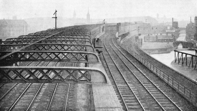 The high viaduct by which the Cheshire Lines tracks enter Manchester Central Station