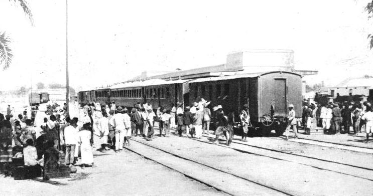THE ARRIVAL OF THE MAIL TRAIN at the town of Benguela