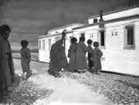 TURKOMANS EXAMINING THE TRAIN IN TRANS-CASPIA