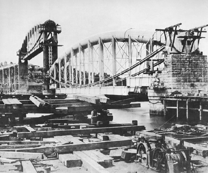 ERECTING ONE OF THE MAIN SPANS OF THE ROYAL ALBERT BRIDGE, SALTASH