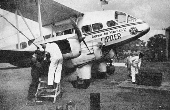 The Jupiter, another of the D.H.86B biplanes used by the Railway Air Services