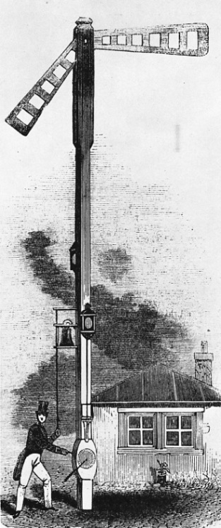 Station post signal of c.1844 set at caution and danger.