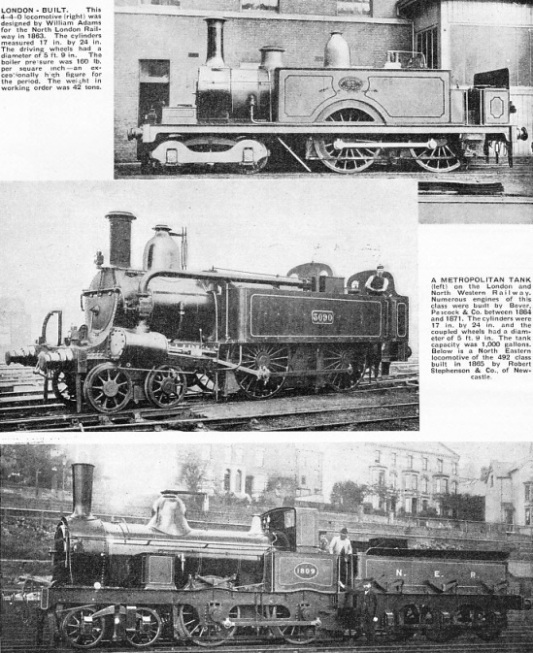 North London Railway 4-4-0 tank, 4-4-0 tank of the Metropolitan Railway, and North Eastern Railway class 492 4-4--0