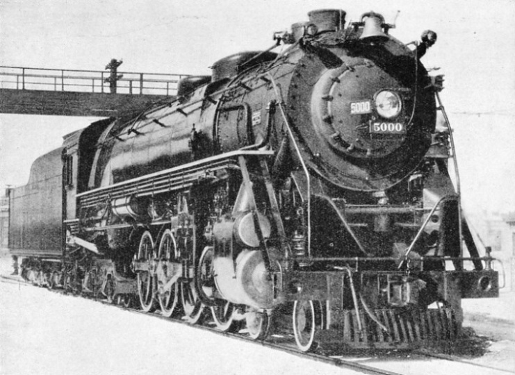 A HEAD-ON VIEW of freight locomotive No. 5000 of the Rock Island Lines