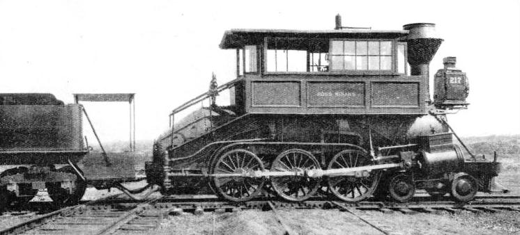 "THE ""CAMEL-BACK"", an appropriately-named locomotive used on American freight trains"
