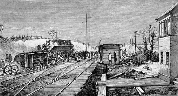 The railway accident at Abbot's Ripton. The scene on the line after the double collision.