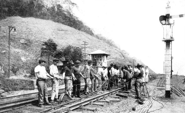 SPLICING THE WIRE ROPE by means of which trains ascend and descend the inclines on the Sao Paulo Railway