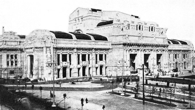 THE MAIN FAÇADE and entrance of the Milan Central Station