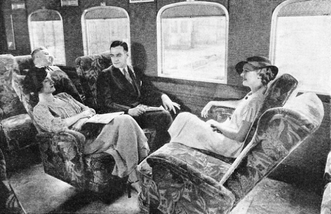 the luxurious interior of a streamlined coach built at Milwaukee for the Chicago, Milwaukee, St Paul and Pacific Railroad in 1934