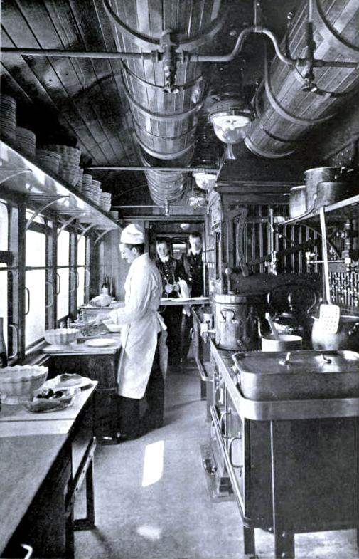 In the kitchen car of the American Special, London & North Western Railway