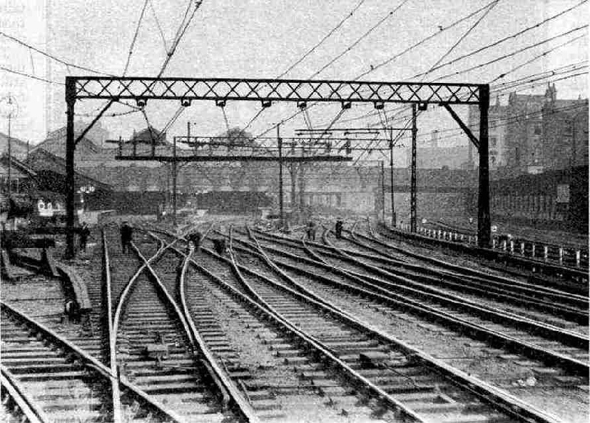 The maze of electrified track at Victoria Station