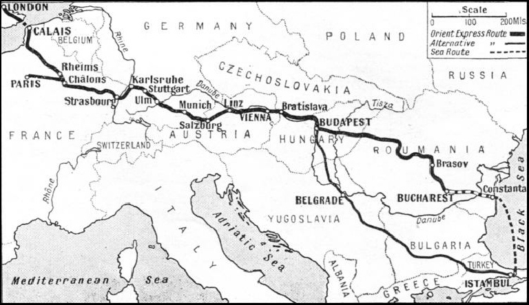 THE ROUTE OF THE ORIENT EXPRESS