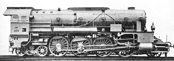 EIGHT-COUPLED WHEELS of 6 ft 5-in diameter are a remarkable feature of this Austrian express engine